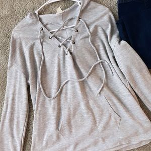 Cute Mossimo lace up gray sweatshirt 🌵 size L